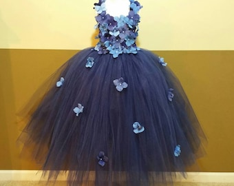 Navy hydrangea flower tutu dress/ Flower girl dress/Party dress(Aqua,white,ivory,burgundy,royal blue,lavender,yellow many colors available)