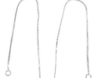 Pair 4 Inch EAR THREADS 925 Sterling Silver with Loop