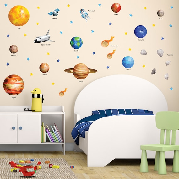 GET STICKING DÉCOR® Educational space planet solar system wall
