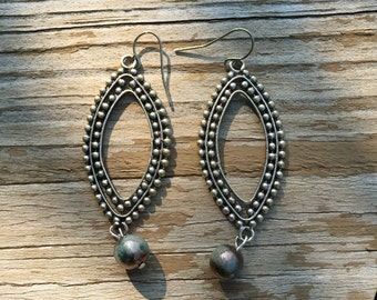 Metal & Raku bead earrings