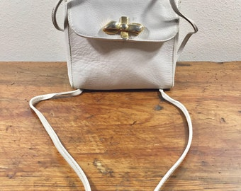 Furla, Off White Leather Purse, Cross body, Shoulder Bags, 1970s, Made in Italy