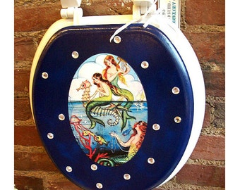 Mermaid toilet seat retro vintage pin up  rockabilly bathroom