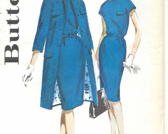 60s Butterick 2600 Misses' Dress and Coat Sewing Pattern UNCUT