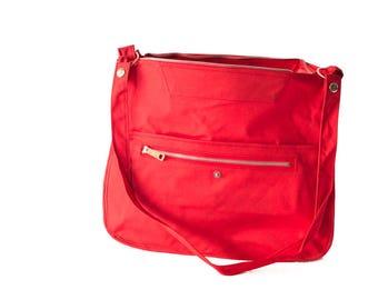Vintage Hand Made Red Shoulder Bag with Zipper