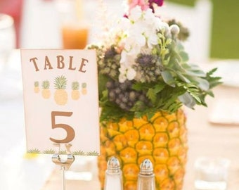 Wedding Table Numbers, Pineapple Wedding, Pineapple Table Numbers, Fruit Table Numbers, Wedding Decorations, Free Table Sign
