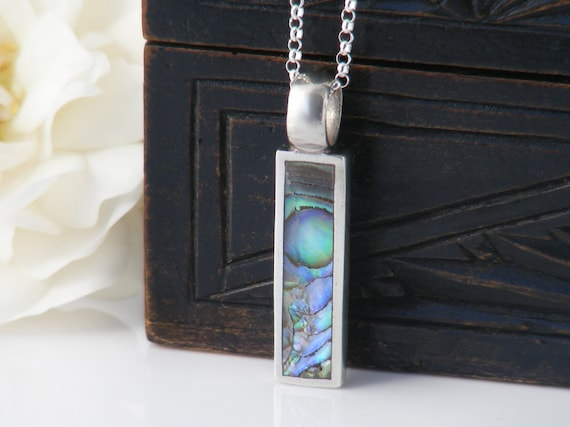 Vintage Paua Pendant, Sterling Silver & Abalone Rectangle   Small Summer Beach Pendant, Ocean Colors of Blue, Green, Purple - 20 Inch Chain