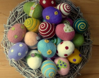 Felt easter eggs  Set of 6 eggs