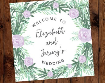 Custom Floral Watercolor Wedding or Rehearsal Dinner Welcome Sign (Available in Custom Colors!)