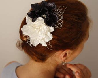 Navy blue Ivory flower Hair Comb,Bridal Hair Comb,Midnight blue Ivory Flower Headpiece,girl Women Hair Comb,Prom Hair Comb,Flower Fascinator