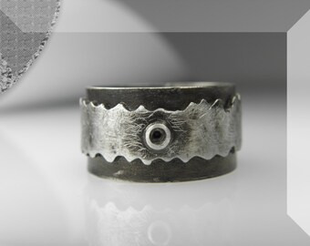grunge man silver ring, brutalist art ring, industrial, rustic jewelry