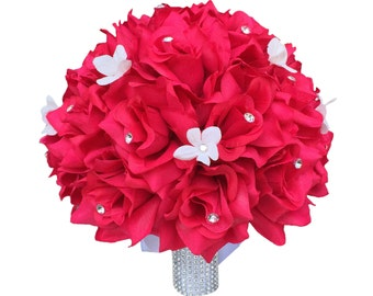 """10"""" Hot Pink Bridal Bouquet - Rhinestone and Stephanotis Accents"""