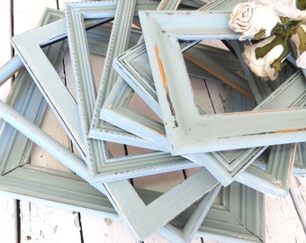 Frame Gallery, Blue Wall Frames, Farmhouse Frames, Shabby and Chic, Rustic Frame Set, Old Frames, Vintage Frames, Painted Frames, Weathered