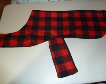 M Buffalo Check Fleece Dog Coat in Black and Red (Medium)