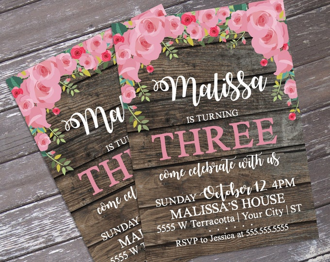 Rustic Flower Invitation - Reclaimed Wood & Flower, Birthday, Shower | Editable Text - DIY Instant Download PDF Printable