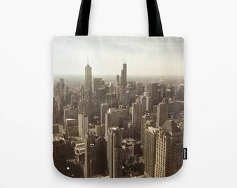 Chicago Buildings Sears Tower Color Photo Tote Bag