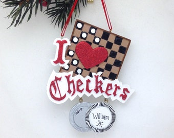 I Love Checkers Personalized Christmas Ornament / Games Ornament / Hobbies Christmas Tree Ornament