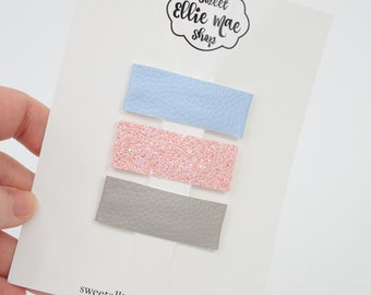 Light Blue, Tutu Shimmer, Grey | Faux Leather and Glitter Snap Clips