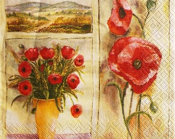 TOWEL in paper poppies, field and #F112 vase