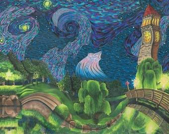 ORIGINAL Art Surrealism Colored Pencil Spokane Washington Print