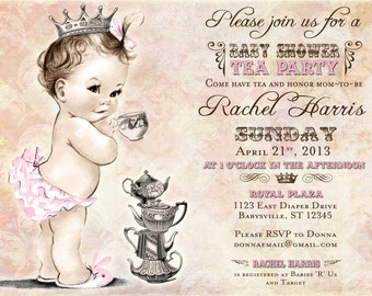 Baby Shower Tea Party Invitation For Girl - Princess - Crown - Pink - DIY Printable