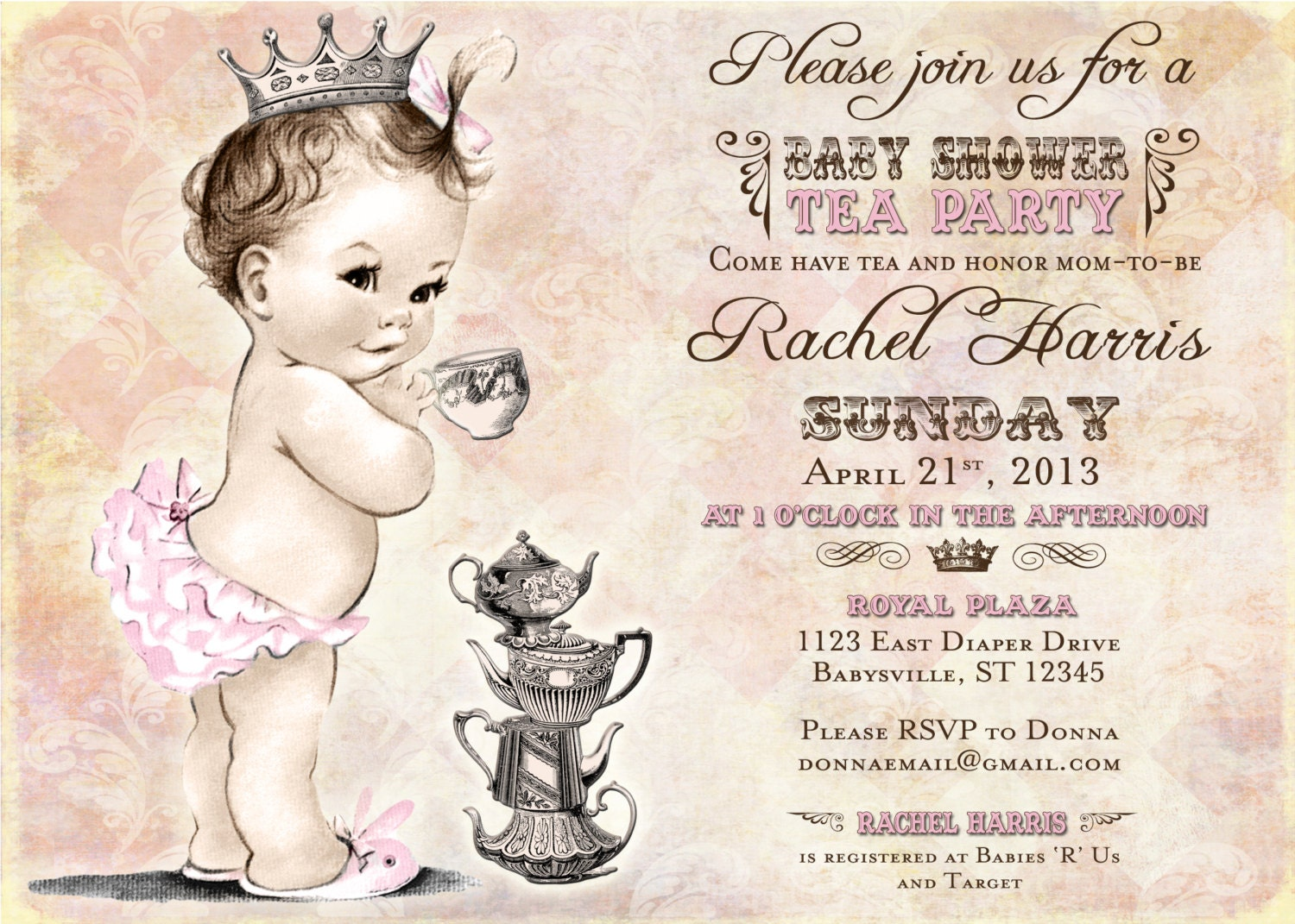 Girl Baby Shower Invitation Princess Tea Party Baby Shower