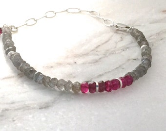 bracelet gemstone topaz tourmaline labradorite flash rondelles sterling silver gray grey pink red simple genuine chain natural layering