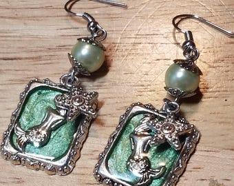 Mermaid Earrings, Sea Green Mermaid Earrings, Nautical Mermaid Earrings