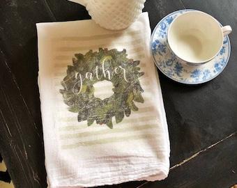 Gather tea towel  green wreath
