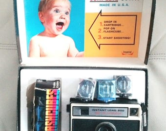 Imperial Instant Load 900 Camera, For 126 Cartridge In Original Box with 6 flash