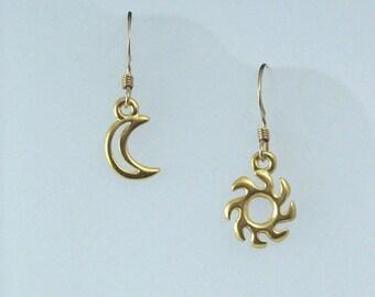 Gold Sun and Moon Earrings on Gold Filled Ear Wires, Celestial Jewelry, Asymmetrical Earrings
