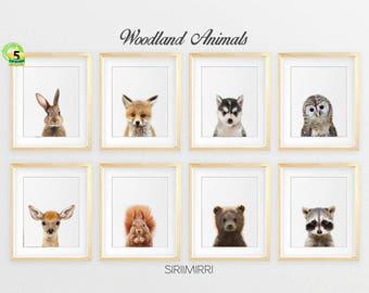 Woodland Nursery Decor, Baby Animals Set 8 Bunny Rabbit Fox Raccoon Owl Deer, Nursery Prints Modern Woodland Animals Art Kids Room Printable