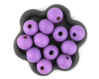 x 50 (43) purple 10mm wooden bead