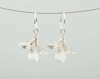 Waimea leaf hoop earrings- sterling silver
