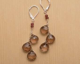 Smokey Quartz Dangle Gemstone Earrings, Healing Gemstone Jewelry, Faceted Gemstone Earrings, Smokey Quartz Garnet Earrings