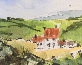 Landscape ORIGINAL Miniature Watercolour  'Farmhouse in the Valley' CountrysideACEO For him,For Her HomeDecor WallArtGift Idea Free Shipping