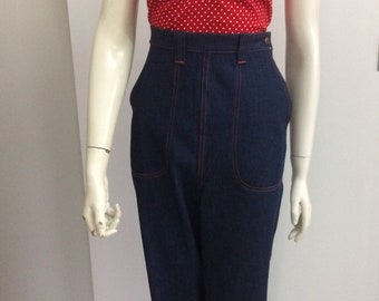 Original Vintage 50s Jeans Pants , High Waisted ,Size Large ,1950s Jeans , Swing Pants , Pinup Rockabilly