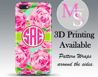 Monogram iPhone Case Personalized iPhone 6, 6 Plus Case Lilly Pullitzer Inspired Monogrammed iPhone 4, 4S, iPhone 5, 5S 5C Tough Case #2575