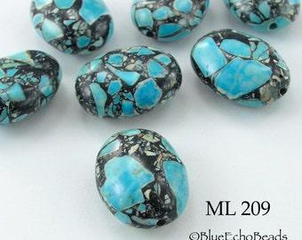 Blue Mosaic Turquoise Oval Stone Beads 21mm (ML 209) blueecho 5 pcs