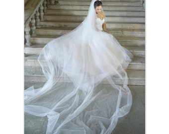 2 Tier Veil, Soft Tulle Veil, Two Layers Bridal Veil, Wedding Accesories , Ivory Veil, Ivory Wedding Veil, Soft Wedding Veil, elegant veil