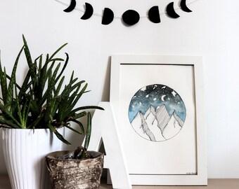 Original painting • mountains • stars sky Moon • •