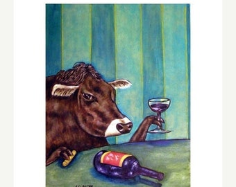 25% off Cow at the Wine Bar Art Print