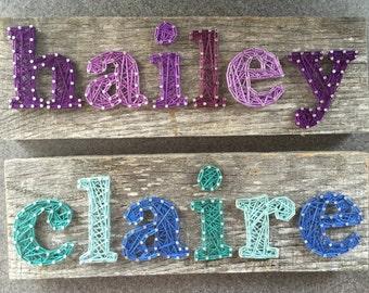 Name String Art (6-7 CHARACTERS) on Barn Wood