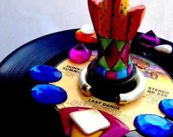 "DONNA SUMMER ""Last Dance"" Bottlestopper Vintage Vinyl Ceramic Bottle Stopper 1978 Disco Queen Original 3D Art  Fuschia Blue Purple Orange"