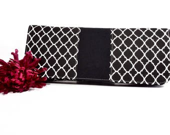Sale Simply Clutch  Black and White Everyday Clutch | Wedding Clutch  Evening Clutch Purse | Baguette Bag | Bridesmaid Clutch | Bridal Purse
