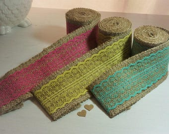 CLEARANCE* less 50% ~ 2M Natural Jute & Lace Ribbon 6cm wide *Blue/Pink/Yellow *Shabby Chic/Vintage*