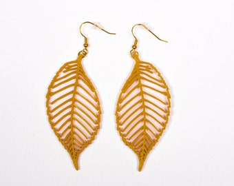 3D printed leaf earrings / gold leaf earrings / many colors available