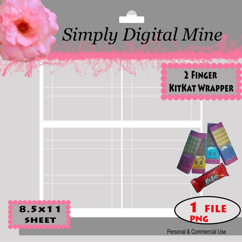 YOU Design 2 Finger mini KitKat Wrapper Template