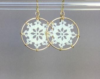 Nautical doily earrings, white silk thread, 14K gold-filled