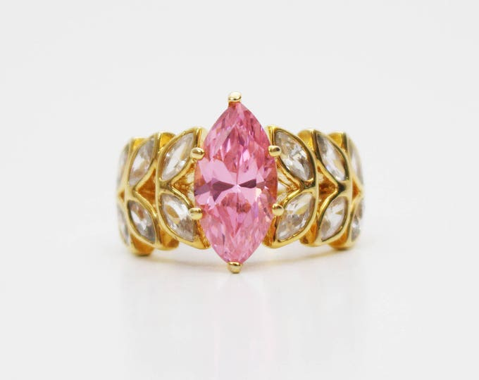 Pink Navette Gold Ring - Size 7 Vintage 1970s Gold Plated 925 Ring