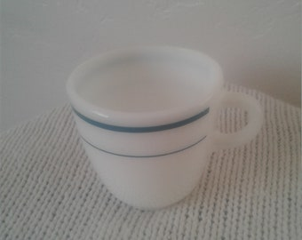 Vintage 70s/80s White Anchor Hocking White Mug with thin Stripes